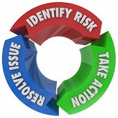 Identify Risk Take Action Resolve Issue Process Workflow 3d Illustration poster