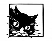 Peeking Kittycat - Retro Clipart Illustration