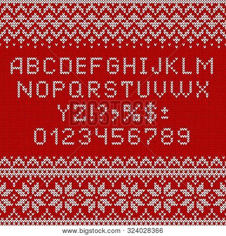 poster of Knitting Font. Alphabet And Norwegian Ornaments For Christmas Or Winter Season. White Letters And Tr