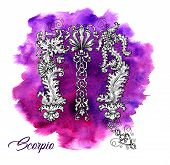 Scorpio Zodiac Sign On Purple Watercolor Background. Collection Of Astrological Symbols In Baroque V poster