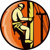 picture of lineman  - Illustration of a power lineman worker electrician climbing electricity utlity post with lightning bolt set inside circle done in retro style - JPG