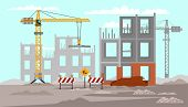 Building Construction Flat Vector Illustration. Road Works. Professional Heavy Machinery Drawing poster