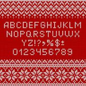 Knitting Font. Alphabet And Norwegian Ornaments For Christmas Or Winter Season. White Letters And Tr poster