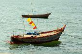 Boat on sea blackground