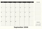 September 2020 Monthly Business Desk Pad Calendar. September 2020 Calendar Planner With To-do List A poster