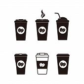 Set Coffee Cup Icon Isolated On White Background. Coffee Cup Icon In Trendy Design Style. Coffee Ico poster