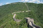 The Famous Great Wall Of China, One Of The Seven Wonders Of The World At Mutianyu Section Outside Be poster