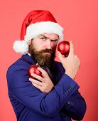 Spread Magic Christmas Atmosphere. Naughty Is New Nice. Man With Beard Hold Red Balls Christmas Deco poster