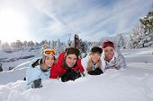 Portrait of a friends on a skiing holiday together