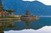 Ulun Danu Bratan Temple And Lake In Bali. It Is One Of The Most Popular Of Tourist Attraction. Indon poster