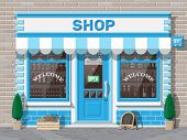Empty Store Front With Window And Door. Wooden And Brick Facade. Glass Showcase Of Boutique. Small E poster