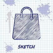 Sketch Line Handbag Icon Isolated On White Background. Shoping Bag Sign. Woman Bag Icon. Female Hand poster