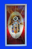 stock photo of hamsa  - Stained glass the hamsa hand amulet for magical protection from the envious or evil eye - JPG