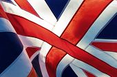 Great Britain National Day. National Flag With Sun In The Background. poster