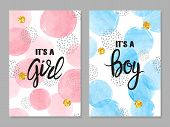 Baby Shower Card Set. Invitation Cards Design For Baby Shower Party - Girl And Boy poster