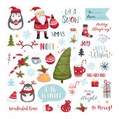 Set Of Christmas Elements. Snowflakes, Santa Claus, Christmas Tree, Gifts, Calligraphy, Lettering, A poster