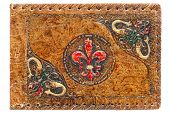 Old Antique Embossed Leather Journal Painted Cover