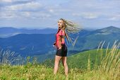 Real Happiness. Happy Sexy Woman. Mountain Traveling And Hiking. Mountaineering Lover. Reaching The  poster