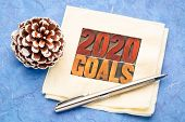 2020 goals banner - New Year resolution concept - text in vintage letterpress wood type on a napkin  poster