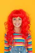 Crazy Redhead Wig. Messy Hairstyle. Kid Cheerful Smiling Happy Redhead Girl. I Am Ginger And Proud O poster