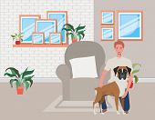 Young Man With Cute Dog Mascot In The Livingroom Vector Illustration Design poster