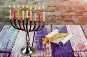 Jewish Holiday, Holiday Symbol Hanukkah Brightly Glowing Hanukkah Menorah Soft Focus poster