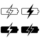 Set Battery Charging Icons, Vector Battery Charging Sign Symbol Template poster