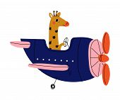 Giraffe Pilot Flying On Retro Plane In The Sky, Cute Animal Character Piloting Airplane Vector Illus poster