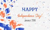 Thailand Independence Day Greeting Card. Flying Balloons In Thailand National Colors. Happy Independ poster