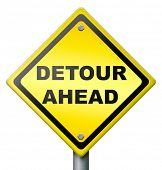 detour ahead road block traffic problem, yellow road sign in diamond shape warning for obstruction