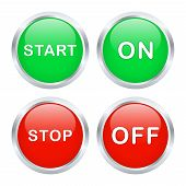 On And Off Buttons. Vector Illustration