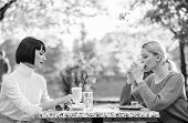 Female Leisure. Girls Friends Drink Coffee Talk. Conversation Women Cafe Terrace. Friendship Friendl poster