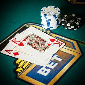 BlackJack in casino with chips