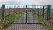 Closed Green Steel Fence