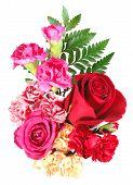 Boeket van bloemen voor Oranje, roze en rood