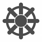 Ship Steering Wheel Solid Icon. Boat Steering Wheel Vector Illustration Isolated On White. Vessel St poster