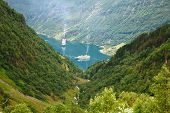 Geiranger, The Most Beautiful Fjord In The World, Norway. Unesco World Heritage Site. poster