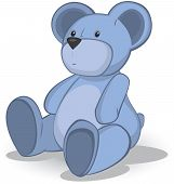 stock photo of teddy-bear  - Blue Teddy bear vector illustration on white  - JPG