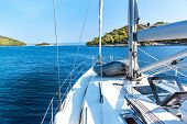 Sailing Boat Near Croatian Island Lastovo. View From The Deck Of The Yacht. Vacation On A Boat. Sail poster