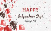 Denmark Independence Day Greeting Card. Flying Balloons In Denmark National Colors. Happy Independen poster
