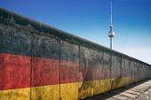 The Berlin Wall With Tv Tower Against A Blue Sky poster