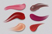 Lipstick Smudge. Realistic Sample Make-up Product. Lipsticks 3d Strokes Cosmetic Smear. Vector Illus poster