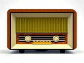 Old Vintage Tube Radio Receiver Made Of Wood And Cream Plastic On A White Background. Old Mid-20th C poster