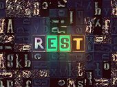 The Word Rest As Neon Glowing Unique Typeset Symbols, Luminous Letters Rest poster