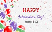 South Africa Independence Day Greeting Card. Flying Balloons In South Africa National Colors. Happy  poster