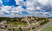 Wide panorama photo of buda castle Budapest, Hungary. poster