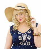 Beautiful Young Woman Wearing Summer Hat