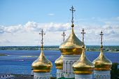 Domes Of Orthodox Church. Golden Crosses Of Russian Church. Sacred Place For Parishioners And Prayer poster