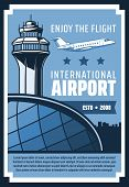 Vector Airplane In Airport Terminal With Air Traffic Control Tower, Passenger Aviation And Airline J poster