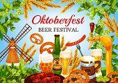 Oktoberfest Beer Festival, German Bavaria Traditional Fest Food. Vector Oktoberfest Craft Beer In Mu poster